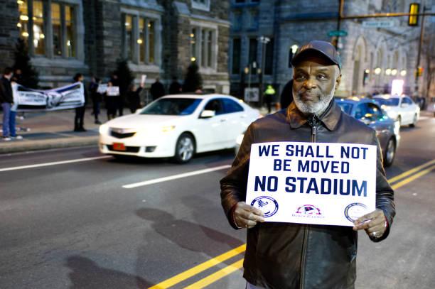 North Philadelphia Neighbors Oppose Development Plans stock photo