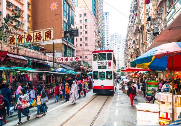 north point marknaden spårvagn - hongkong bildbanksfoton och bilder