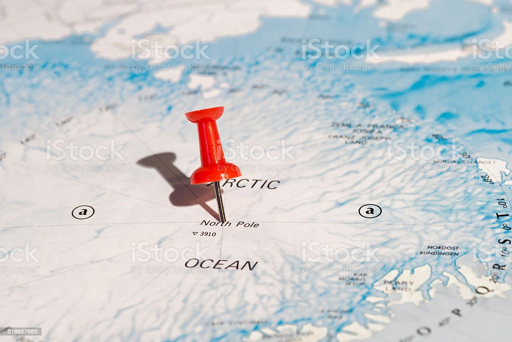 North Pole Center Marked on Map with Red Pushpin stock photo