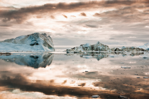 North Pole Icebergs Arctic Greenland During Sunrise Stock Photo - Download Image Now