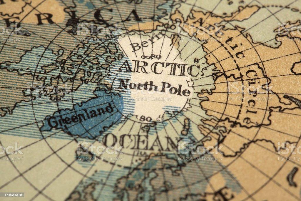 North pole map stock photo