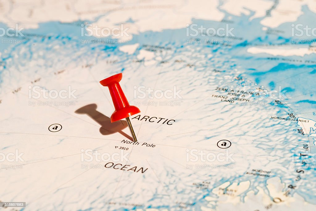 North Pole Pinned on Map with Red Pushpin Angled Left stock photo