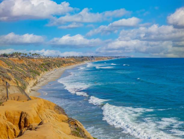 North Ponto Beach with breaking surf at Carlsbad California stock photo