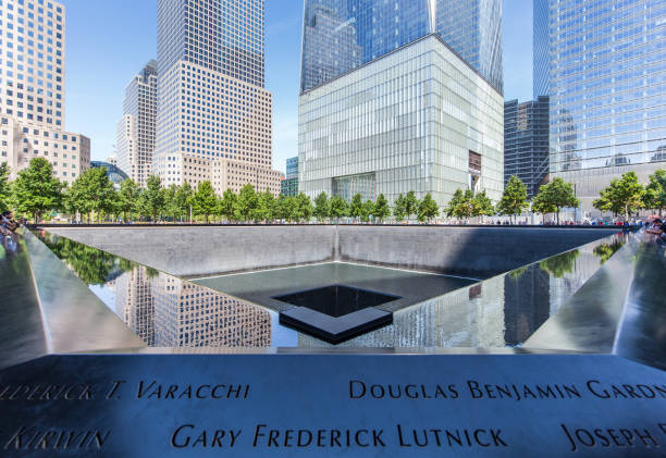 North pool at the 9/11 Memorial in New York stock photo