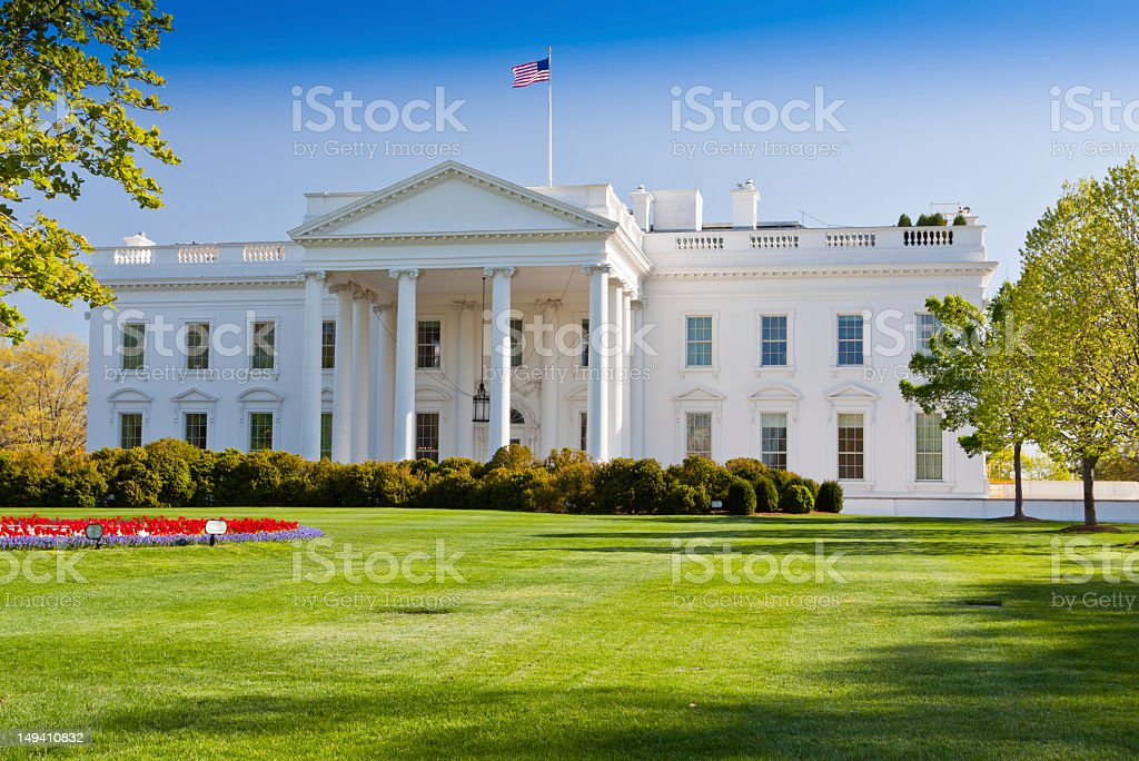 North Portico of the White House, Washington DC. Blue sky. stock photo