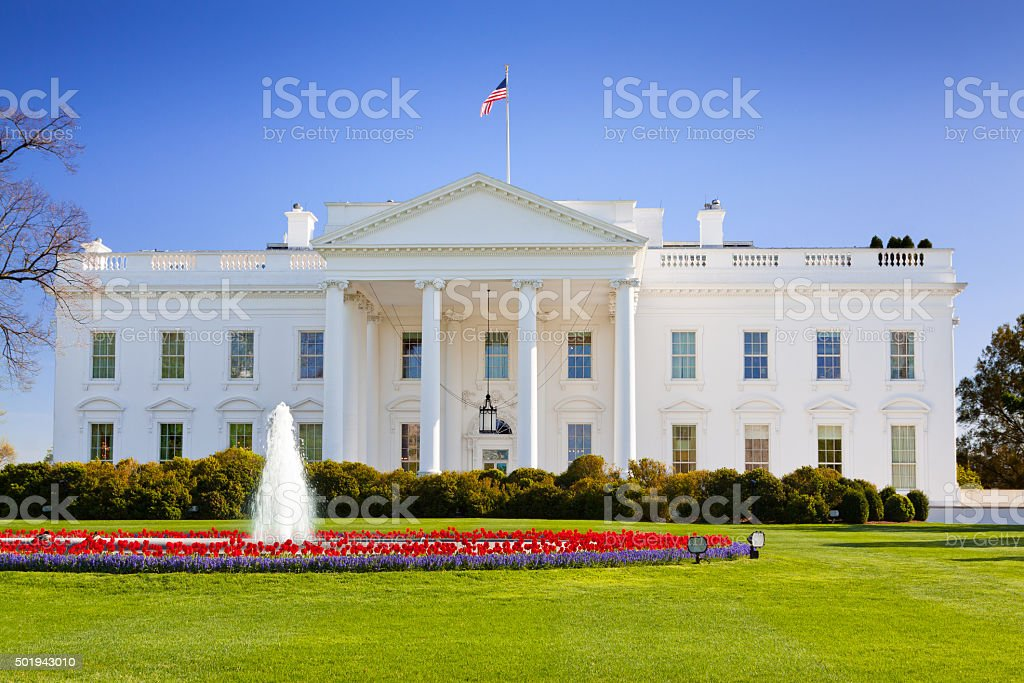 North Portico of the White House, Washington DC, USA. stock photo