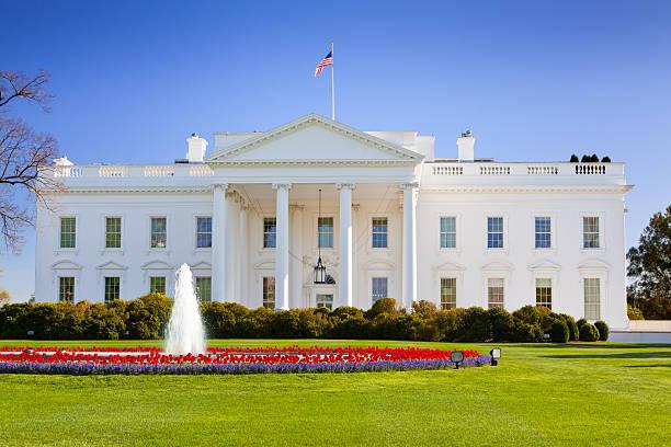 North Portico of the White House, Washington DC, USA. stock photo