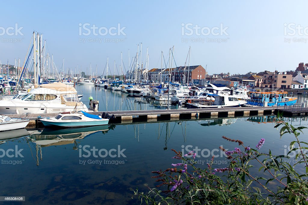 North Quay marina Weymouth Dorset UK with boats and yachts stock photo