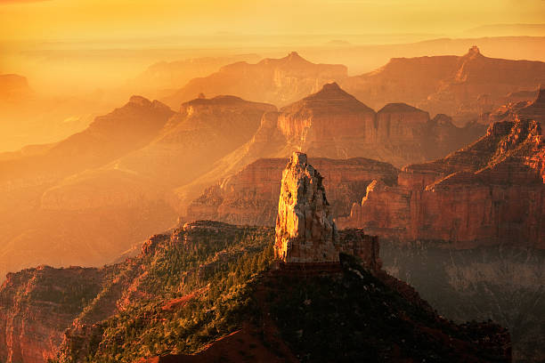North Rim Point Imperial Sunrise at Grand Canyon National Park stock photo