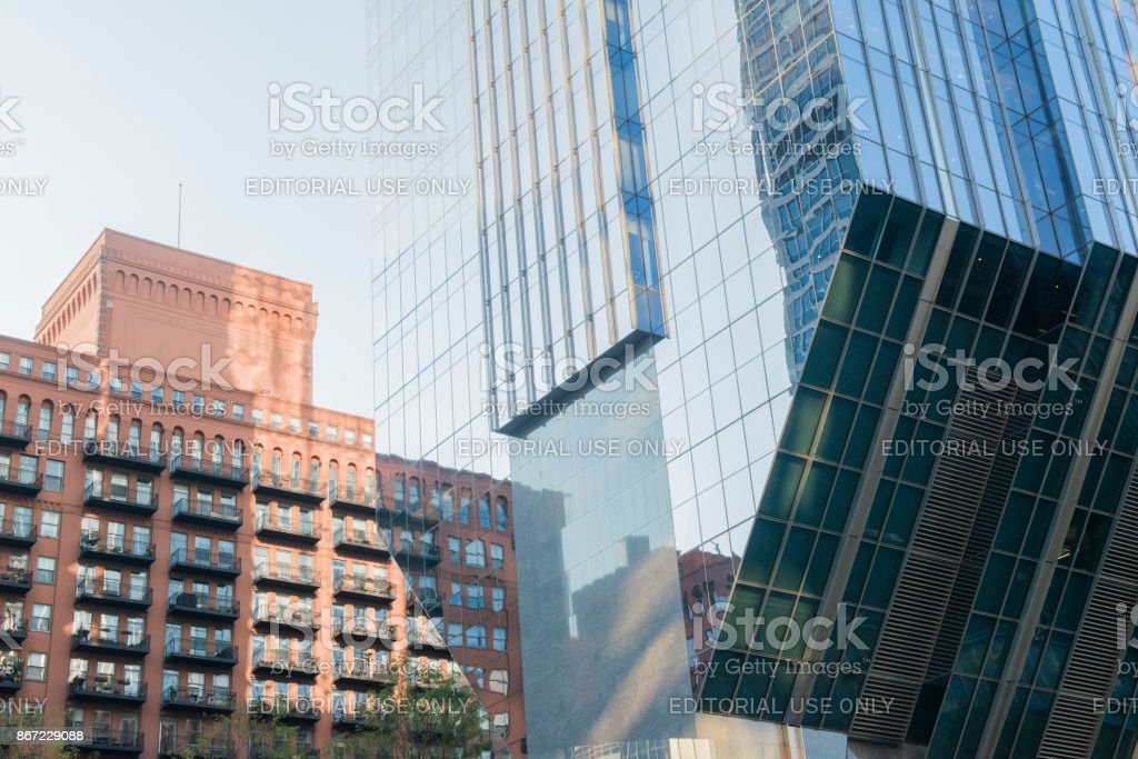 North Riverside Plaza Chicago Building Architecture Reflections stock photo