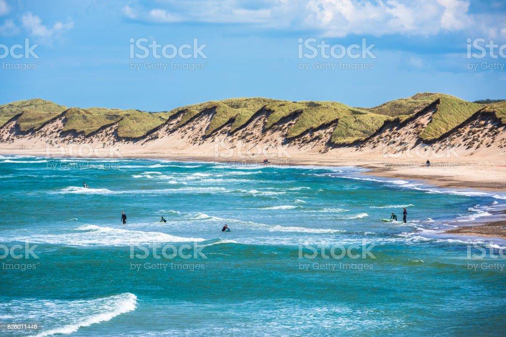 North sea beach, Jutland coast in Denmark stock photo