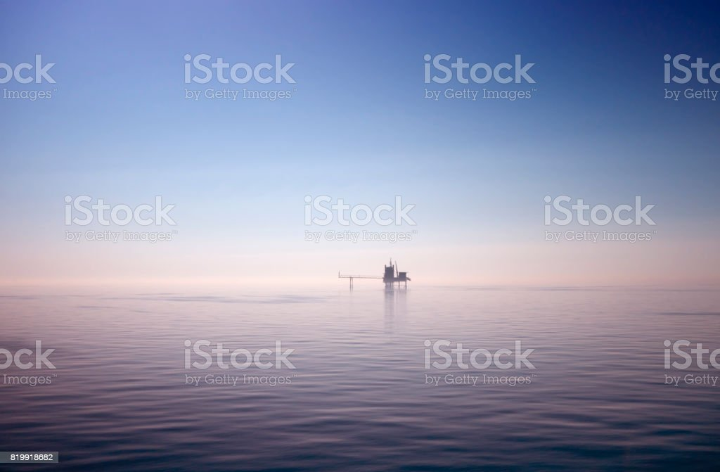 North Sea drilling platform stock photo