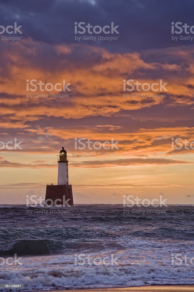 North Sea Lighthouse Before Dawn stock photo