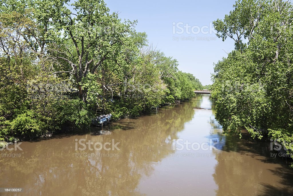 North Shore Channel of the Chicago River in Albany Park royalty-free stock photo