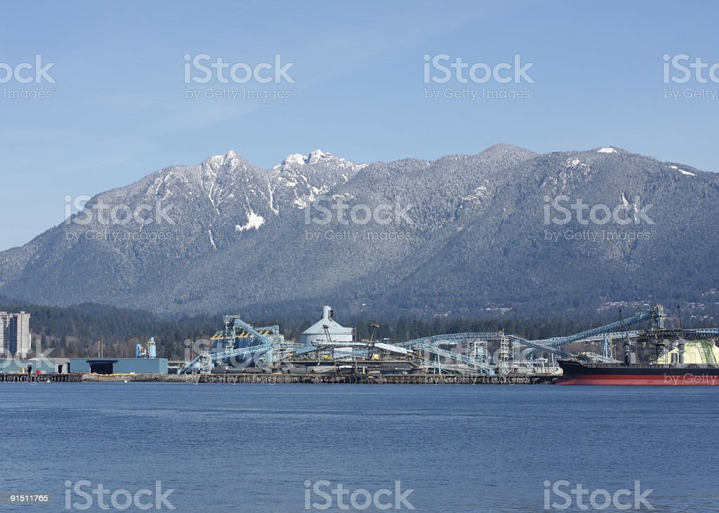 North Shore Mountains and Burrard Inlet Industries in Vancouver, Canada stock photo