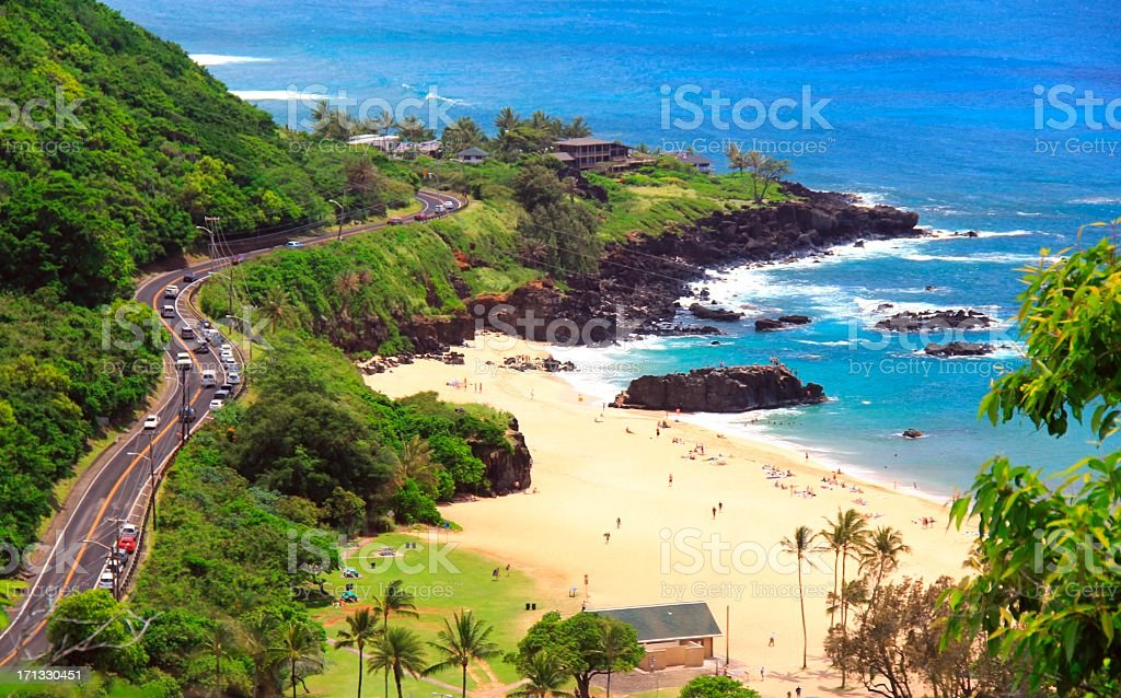 North Shore Oahu Hawaii beach scenic stock photo