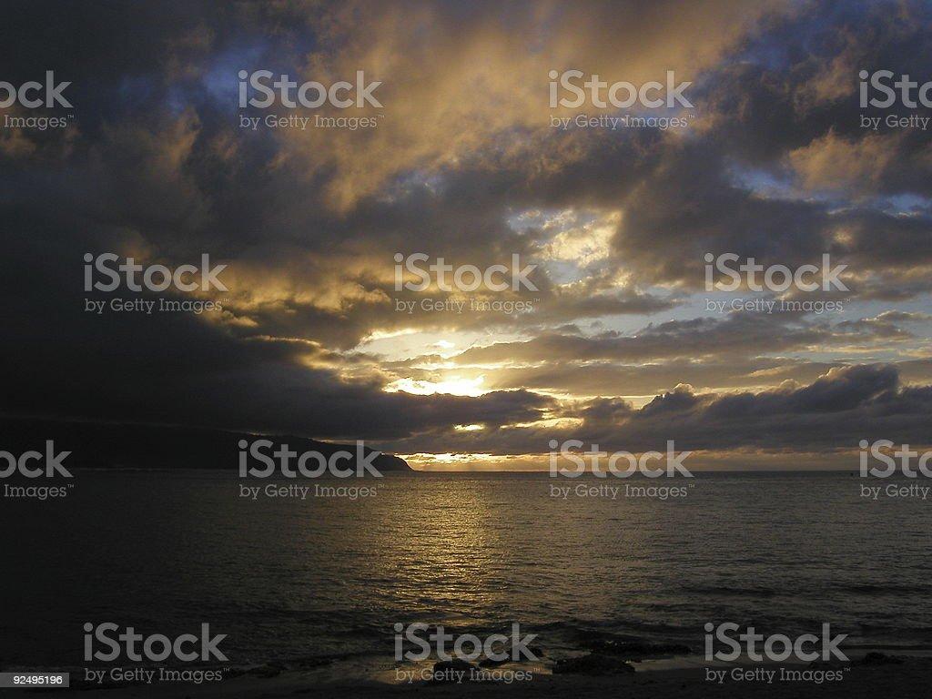 North Shore Sunset, Oahu, Hawaii. royalty-free stock photo