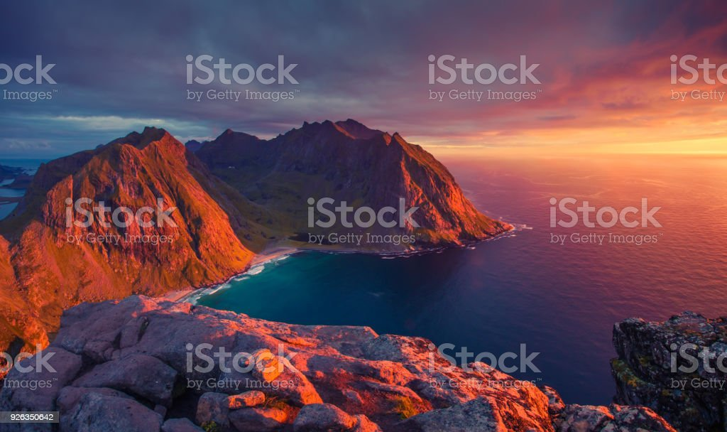 North sunset in Norway stock photo