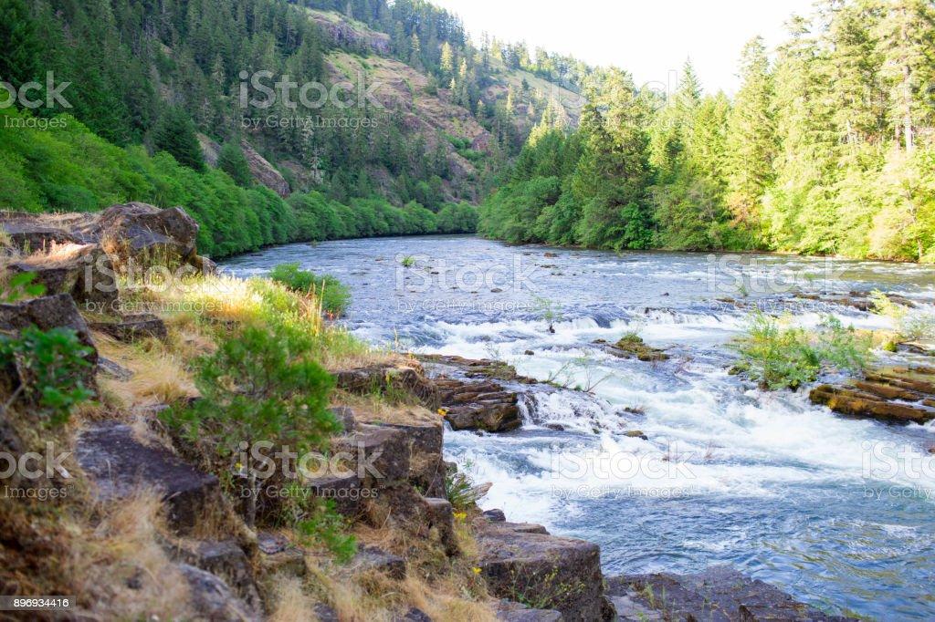 North Umpqua River Near Steamboat and Glide Oregon stock photo