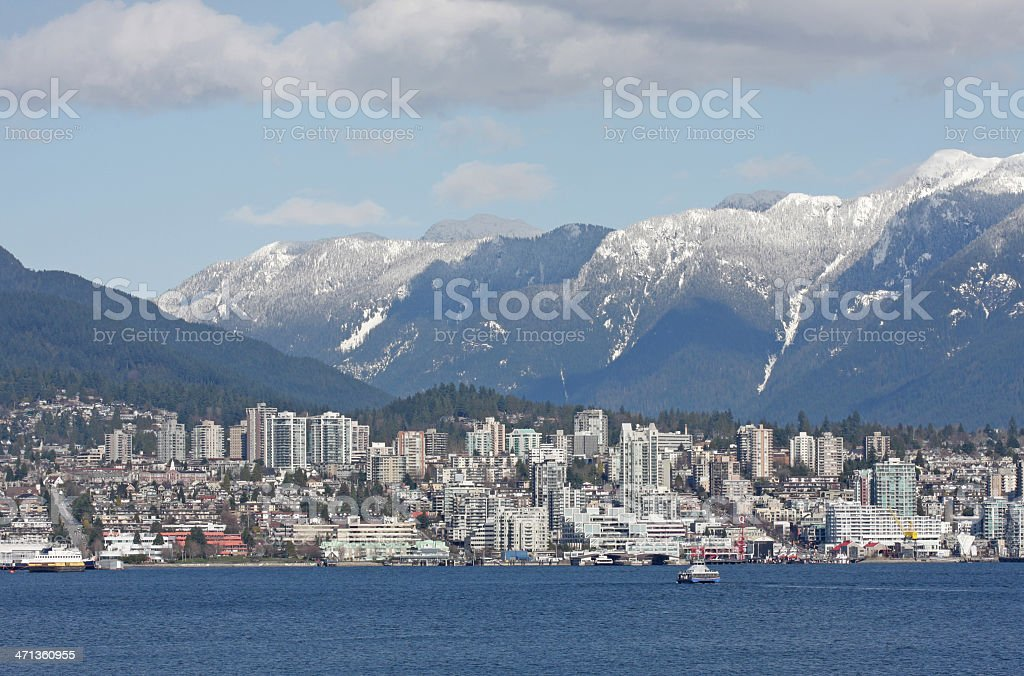 North Vancouver, Burrard Inlet and Snowy Coast Mountains in Winter stock photo