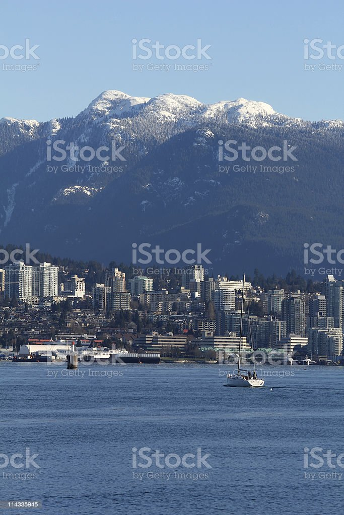 North Vancouver, Burrard Inlet, Coast Mountains stock photo