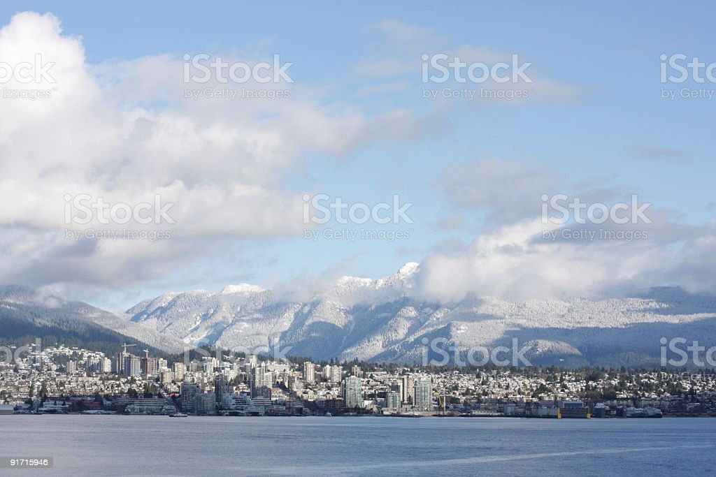 North Vancouver Cityscape and Snowy Coast Ranges, British Columbia, Canada stock photo