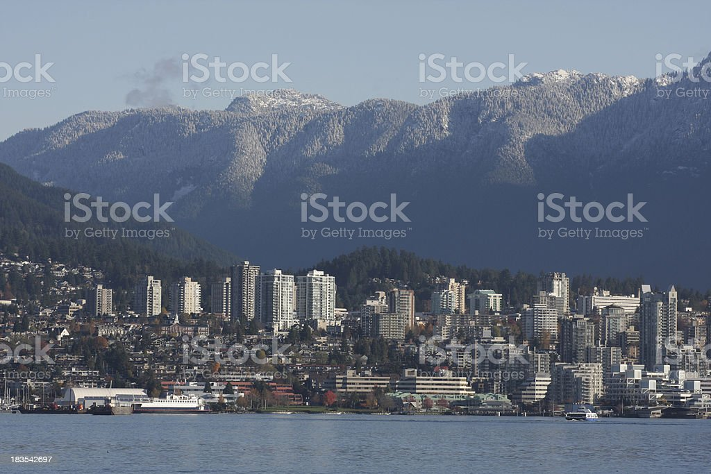 North Vancouver Cityscape,  Burrard Inlet, British Columbia, Canada in Autumn stock photo