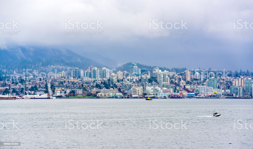 North Vancouver in the clouds stock photo