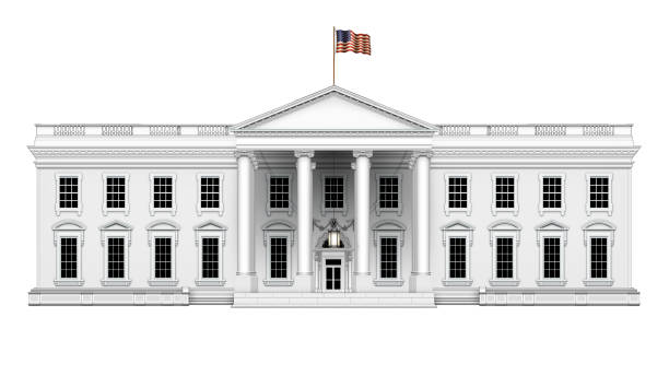 north view of the white house with no extra roof structures – isolated. 3d illustration - white house стоковые фото и изображения