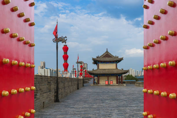 North wall of old town - Xian China stock photo