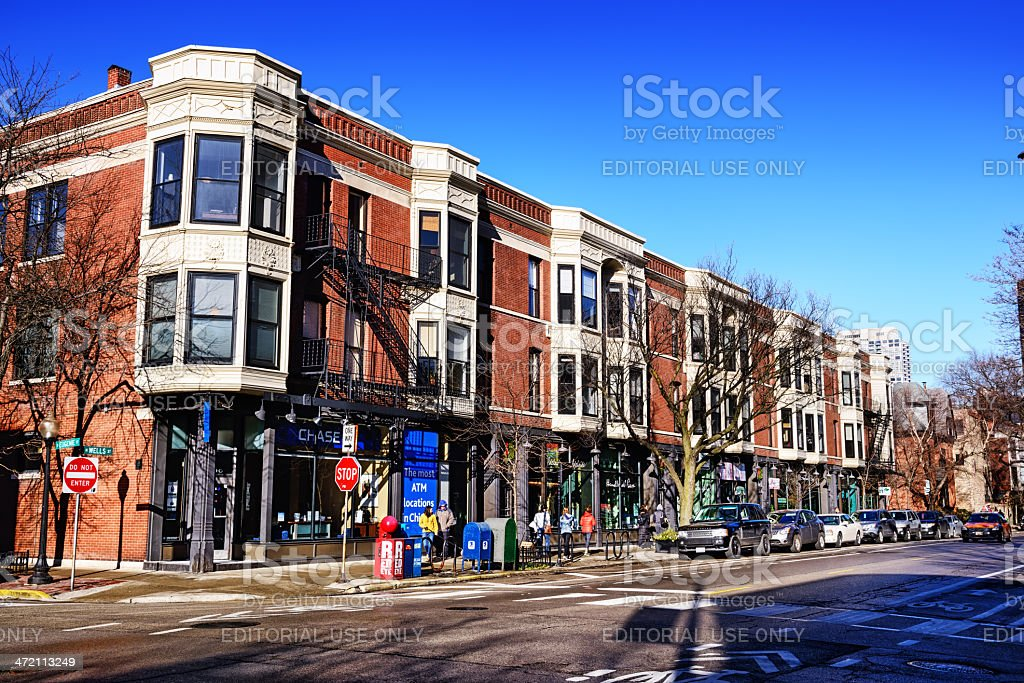 North Wells Street in Old Town, Chicago stock photo