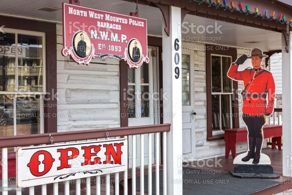 North West Mounted Police Barracks Historic Place in Canmore Alberta stock photo