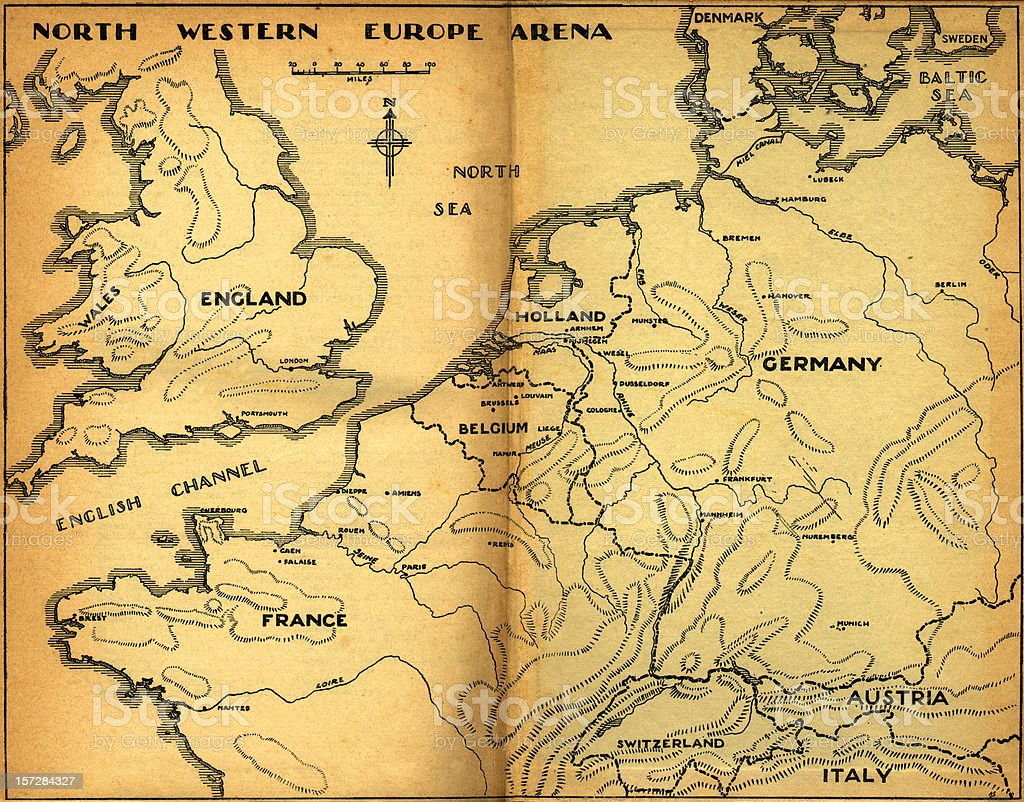 north western europe vintage map royalty free stock photo