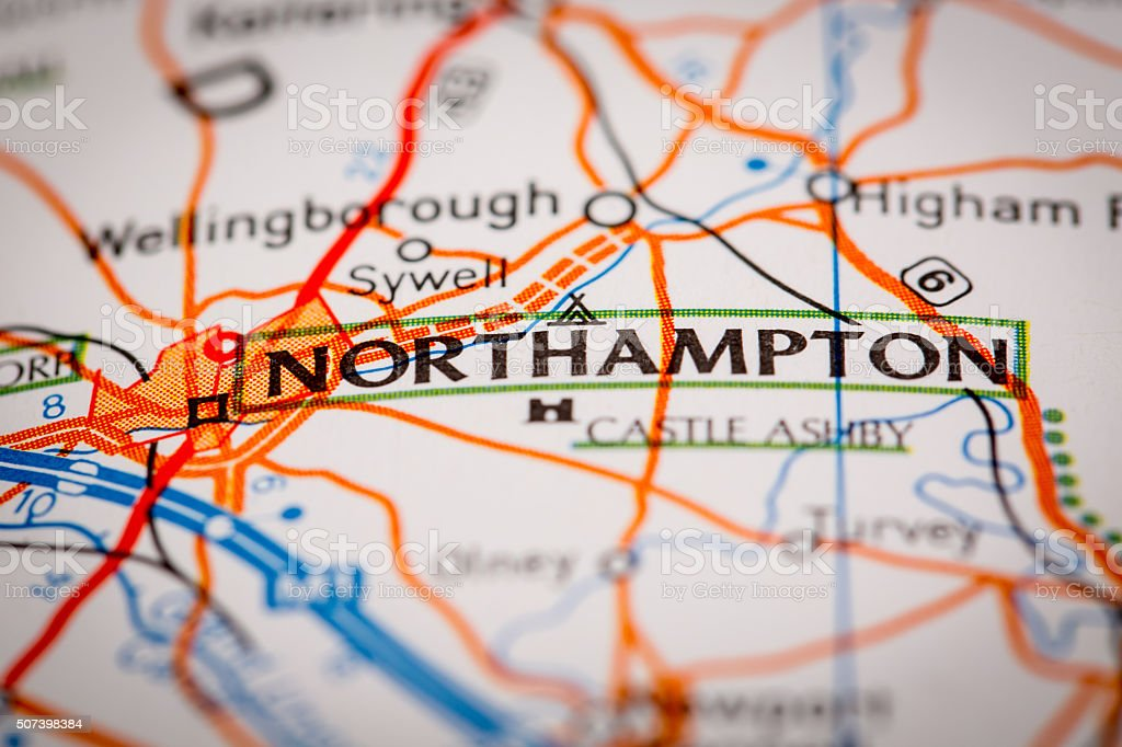 Northampton City on a Road Map stock photo