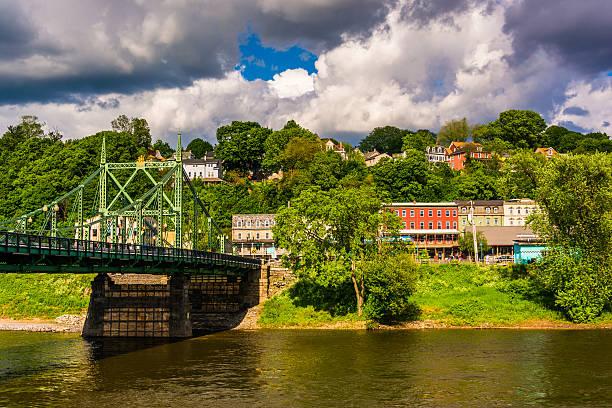 Northampton Street Bridge over the Delaware River in Easton, stock photo