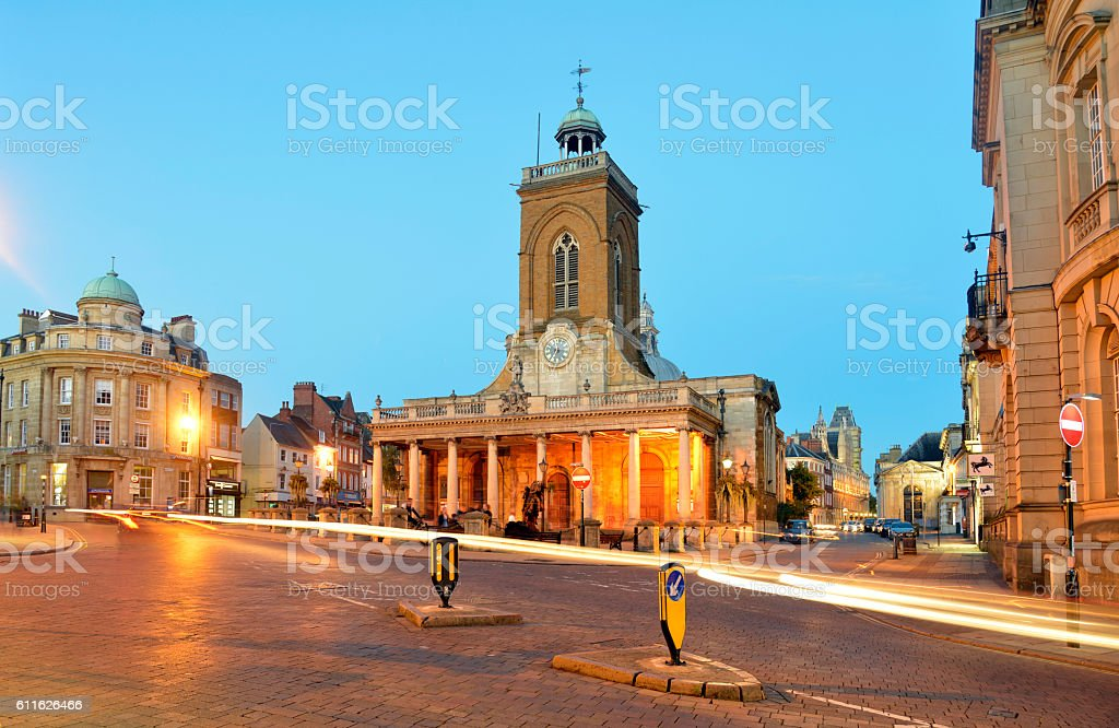 Northampton town centre at night. Allsaints church. stock photo