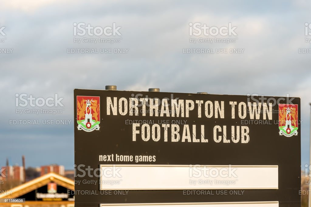 Northampton UK January 04, 2018: Northampton Town Football Club Fixtures Stand in Sixfields Retail Park stock photo