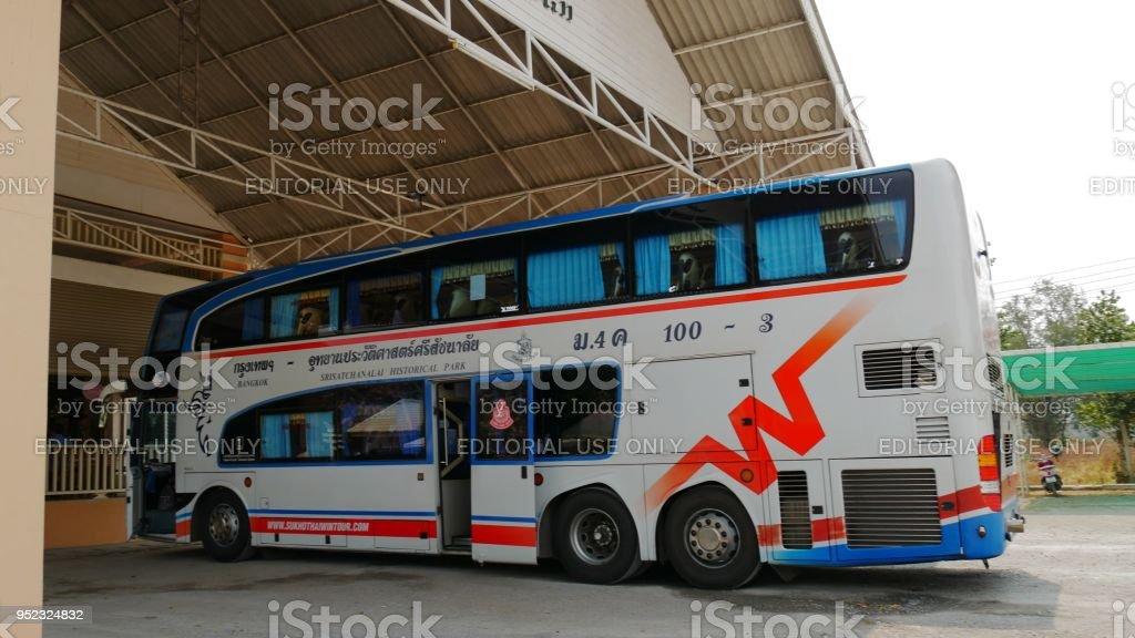 northbound double decker passenger bus in Thailand stock photo