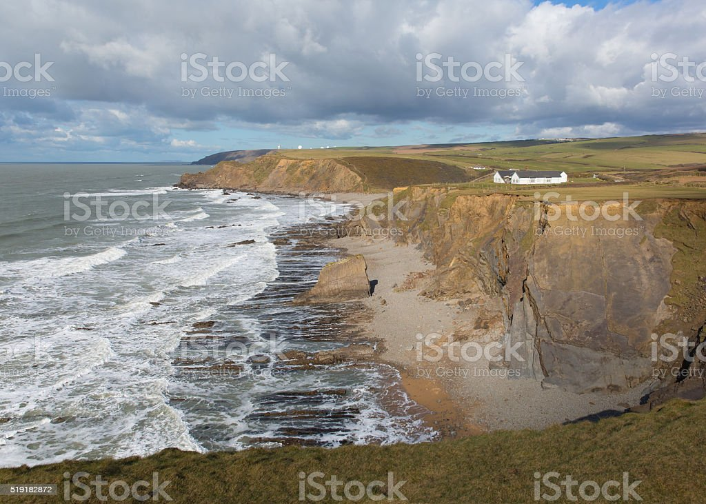 Northcott Mouth beach north of Bude North Cornwall England UK stock photo