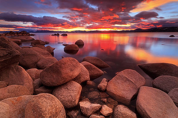 Northe Lake Tahoe Sunset stock photo