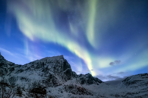 Northen Light Under Mountains Beautiful Natural Landscape In The Norway Stock Photo - Download Image Now