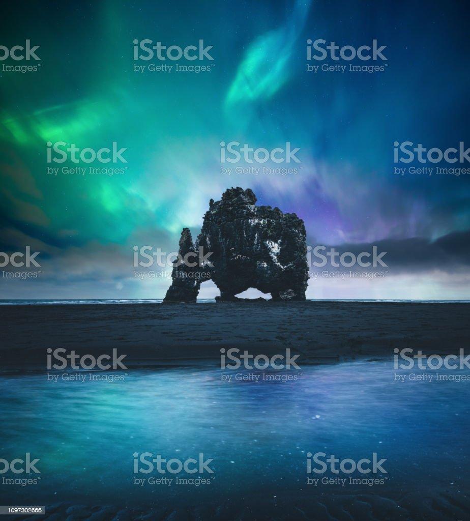 Northen Lights Over Hvitserkur In Iceland stock photo