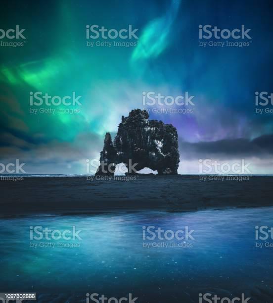 Photo of Northen Lights Over Hvitserkur In Iceland