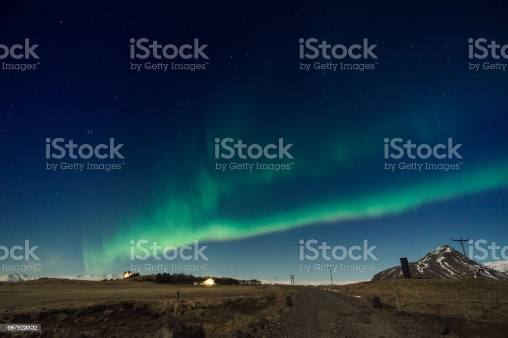 Northen lights over the backyard stock photo