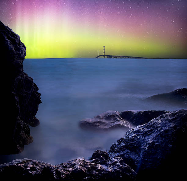 Norther lights over the Mighty Mac stock photo