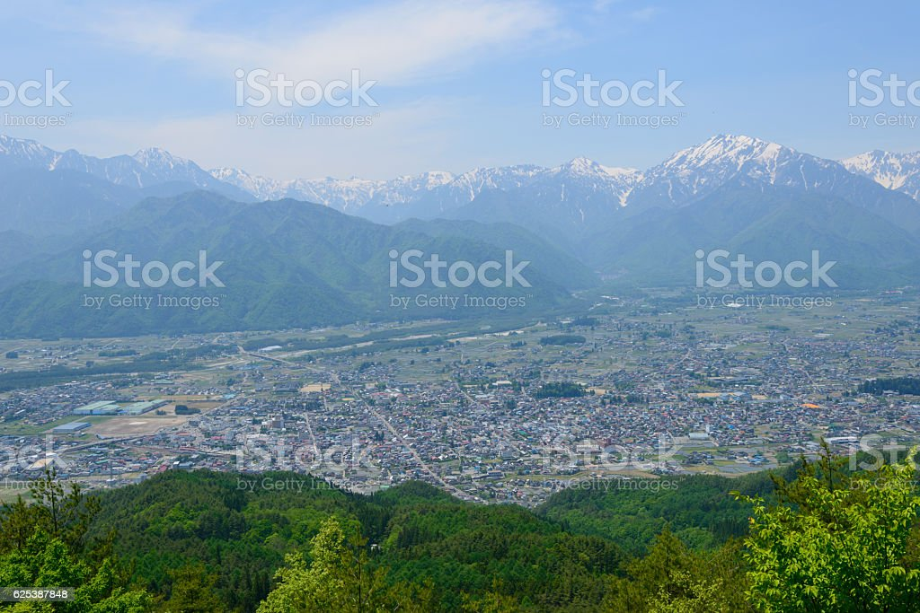 Northern Alps and the City of Omachi in Nagano, Japan stock photo