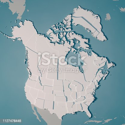 istock Northern America Country Map Administrative Divisions 3D Render 1127476445