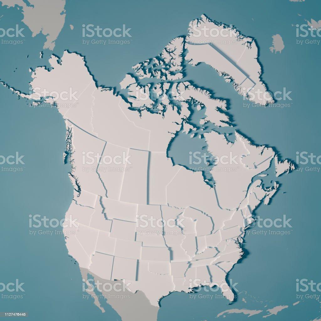 América do norte do país mapa divisões administrativas 3D Render - foto de acervo