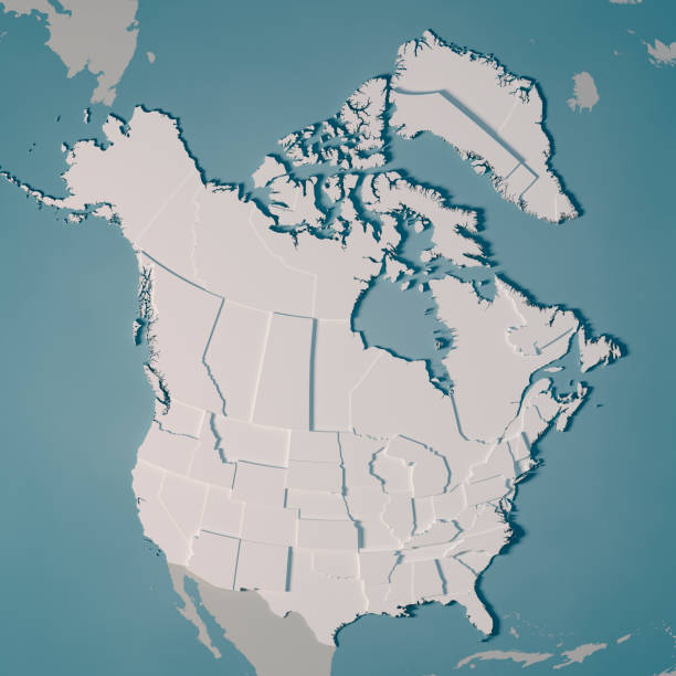 northern america country map administrative divisions 3d render - alaska us state stock photos and pictures