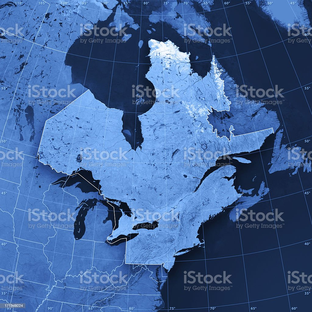 Northern America North East Topographic Map stock photo